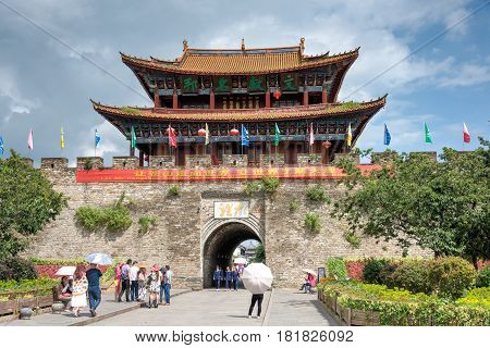 Dali, China - Aug 31 2014: North Gate At Dali Old Town. A Famous Landmark In The Ancient City Of Dal