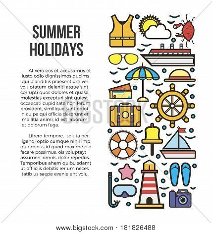 Summer holidays information list vector illustration. Sun bathes on deck and delicious seafood during voyage. Embark on dream cruise to get unforgettable experience. Travel by big liner or yacht.