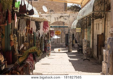 ISRAEL JERUSALEM - MAY 15 2014: Colrful bazaar in Old City popular place for tourists in Jerusalem