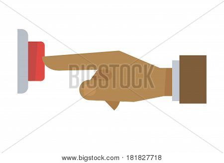 Hand pushing red button isolated on white background. Male hand pressing round bell by forefinger. Logo design of businessman arm decided to start cooperation with company vector illustration
