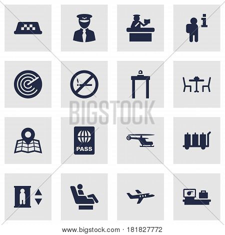 Set Of 16 Aircraft Icons Set.Collection Of Carriage, Vip, Chopper And Other Elements.