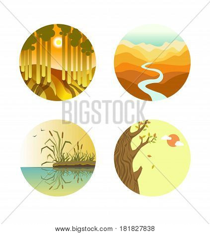 Landscape icons colorful flat vector poster on white. Four round labels of sunset in forest with tall trees, long thin river in desert, reed mace growing on beach and wood with falling leaves