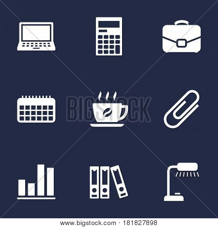 Set Of 9 Service Icons Set.Collection Of Calculator, Laptop, Diagram And Other Elements.