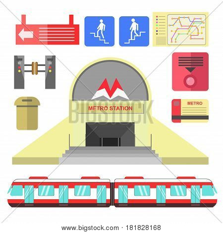 Metro station transport and signs poster on white. Underground building, symbols for passengers, route map, plastic card, special gate and other subway elements vector collection in flat design
