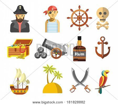Pirate colorful small symbols on white vector flat poster. Collection of men pirates, treasure box, floating ship, rum drink, palms on beach, anchor and round wooden helm, big exotic parrot.