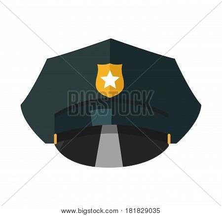 Police cap with golden token realistic vector illustration isolated on white background. Guard security uniform unit with star sign on emblem. Cop hat, policeman headwear accessory in flat design