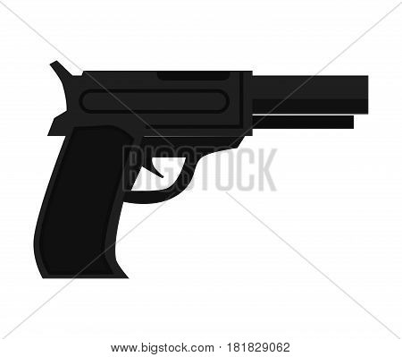Police gun cop automatic pistol realistic vector illustration isolated on white background. Guard security metallic arm handgun unit emblem. Policeman accessory in flat design cartoon style