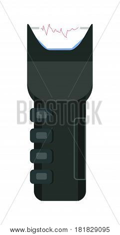 Electric shocker icon of strike stunning device realistic vector illustration isolated on white background. Black electrical shock apparatus, policeman accessory in flat design cartoon style