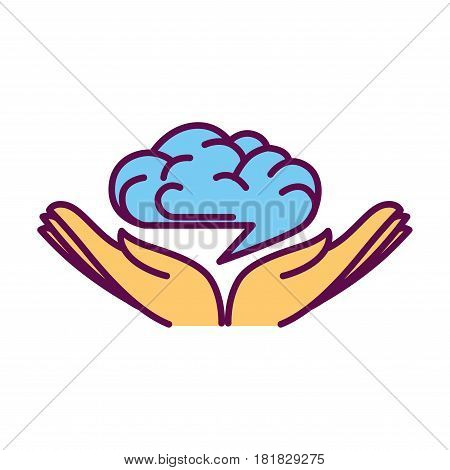 Open hand palms with human brain over them logo design isolated on white. Intelligence symbol icon with creative mind icon in human arms. Vector illustration in getting knowledge concept in flat