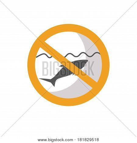 Stop fishing sign with crossed fish isolated on white vector illustration. Forbidden symbol prohibited restriction of angling in this place. Information about ban on something in flat style