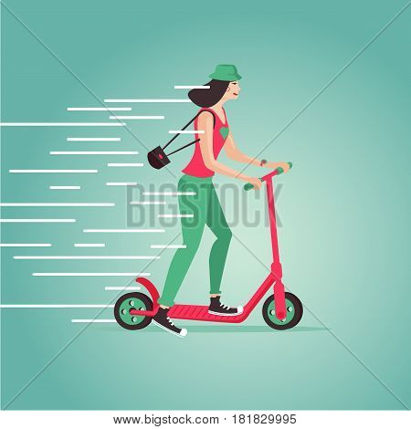 Hipster girl riding a scooter. Cartoon vector illustartion. Flat style. Side view.