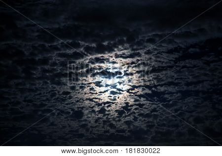 Clouds In the Night Sky and Moonlight