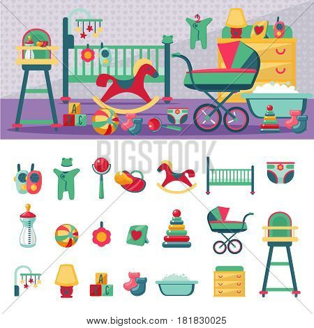 Constructor of newborn room. Children icons set. Cartoon style.