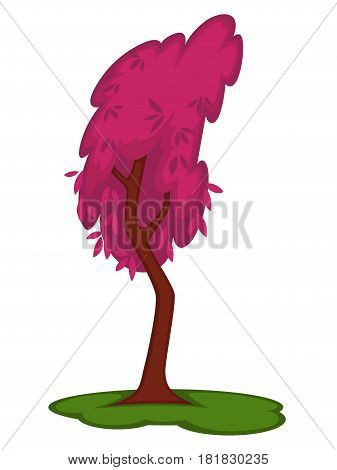Colorful hollow tall tree on green grass land spot isolated on white. Vector illustration in flat design of high plant with brown stem and violet leaves. Bowed wood in autumn season template