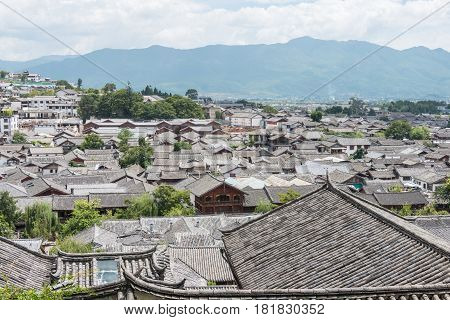 Lijiang, China - Sep 5 2014: Roof At Old Town Of Lijiang(unesco World Heritage Site). A Famous Landm