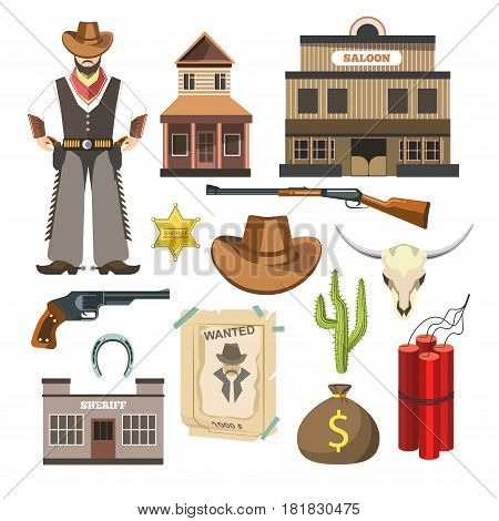 Cowboy template vector flat colorful sign symbols poster on white. Set of man in special clothes, saloon building, long weapons types, cactus plant, bag with money, wanted list and sheriff emblem