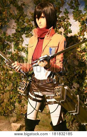 Osaka, Japan - Feb 12 2016:Attack on Titan at Universal Studios japan,Clone-oid of Mikasa Ackerman from Shingeki no Kyojin