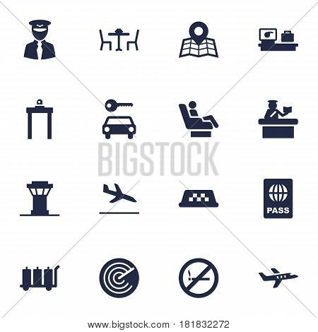Set Of 16 Land Icons Set.Collection Of Rectifier, Security, Carriage And Other Elements.