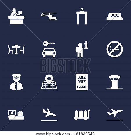 Set Of 16 Aircraft Icons Set.Collection Of Passport, Security, Letdown And Other Elements.