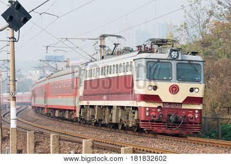 Henan, China - Nov 19 2014: China Railways Ss7C Electric Locomotive In Luoyang, Henan, China. The Lo