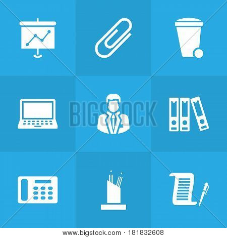 Set Of 9 Bureau Icons Set.Collection Of Pencil Stand, File Folder, Trash Can Elements.
