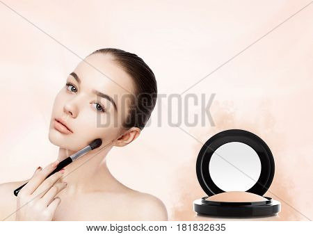Beautiful Girl Holding Makeup Brush For Foundation