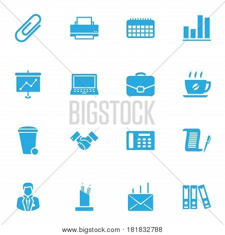 Set Of 16 Service Icons Set.Collection Of File Folder, Contract, Printer And Other Elements.