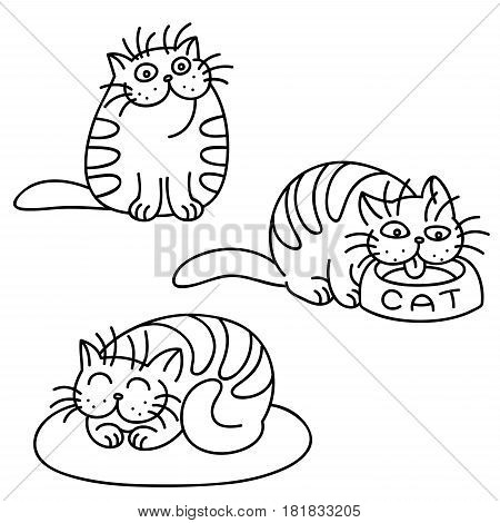 Cat Emoticons Set. Funny Cartoon Cool Character. Contour Digital Drawing Cute Pet. White Color Background. Cheerful Kitten Collection for Web Icons and Shirt. Isolated Vector Illustration.