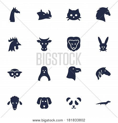 Set Of 16 Brute Icons Set.Collection Of Hound, Hoss, Mutton And Other Elements.