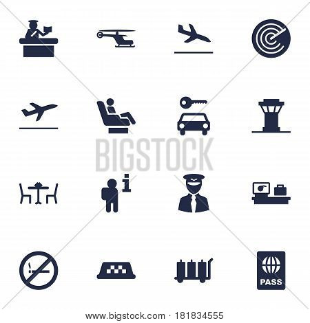 Set Of 16 Aircraft Icons Set.Collection Of Aviator, Vip, Forbidden And Other Elements.