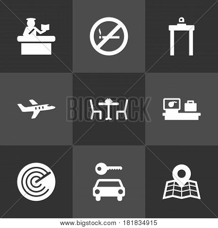 Set Of 9 Land Icons Set.Collection Of Restaurant, Resolver, Aircraft And Other Elements.
