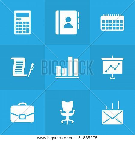 Set Of 9 Bureau Icons Set.Collection Of Diplomat, Office Chair, Mail And Other Elements.