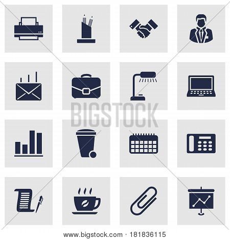 Set Of 16 Bureau Icons Set.Collection Of Presentation, Laptop, Mail And Other Elements.