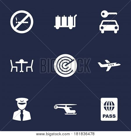 Set Of 9 Land Icons Set.Collection Of Chopper, Radiolocator, Passport And Other Elements.