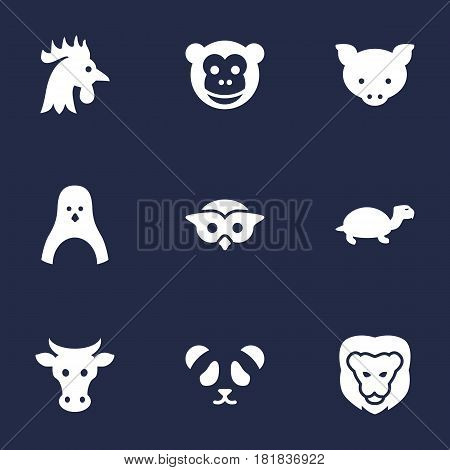 Set Of 9 Alive Icons Set.Collection Of Kine, Tortoise, Bear And Other Elements.