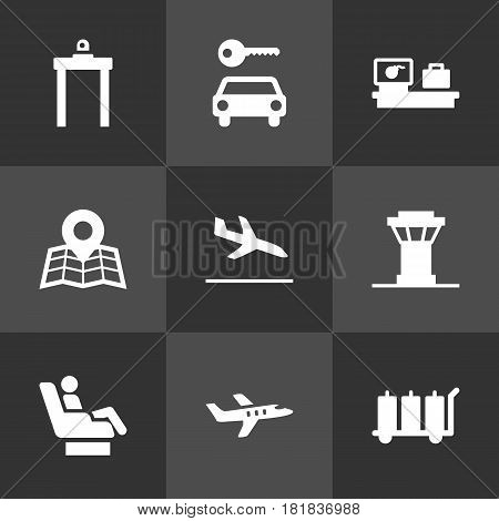 Set Of 9 Land Icons Set.Collection Of Rectifier, Tower, Carriage And Other Elements.