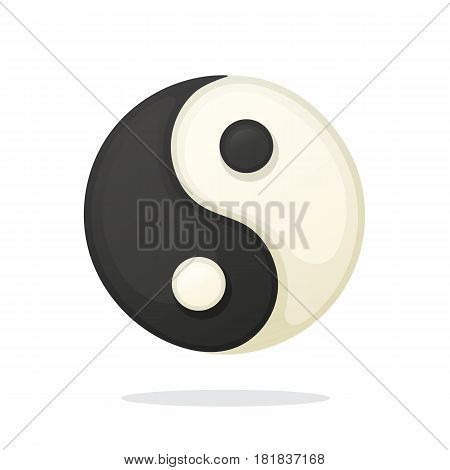 Vector illustration in cartoon style. Yin and Yang symbol of harmony and balance. Decoration for greeting cards, prints for clothes, posters