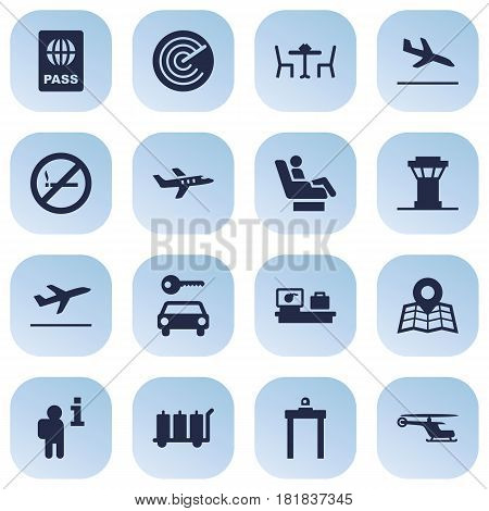 Set Of 16 Airplane Icons Set.Collection Of Restaurant, Leaving, Forbidden And Other Elements.