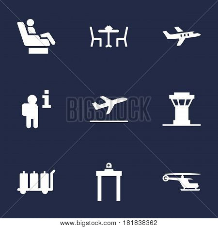 Set Of 9 Airplane Icons Set.Collection Of Carriage, Rectifier, Tower And Other Elements.