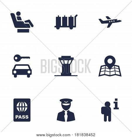 Set Of 9 Aircraft Icons Set.Collection Of Vip, Location, Data And Other Elements.