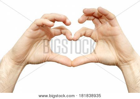 Finger Heart Of A Man Wrist Isolated Love Sign On White Background