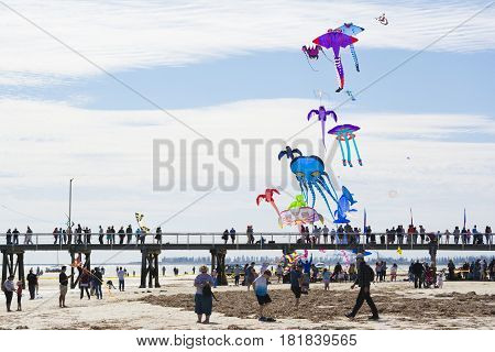 Flying Kites Over The Jetty At The Adelaide International Kite Festival