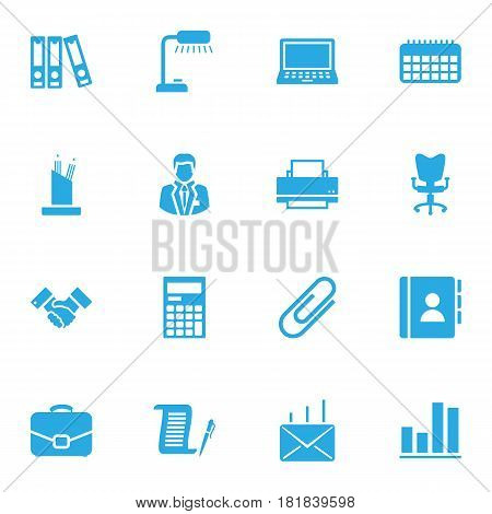 Set Of 16 Work Icons Set.Collection Of Address Book, Office Chair, Printer And Other Elements.