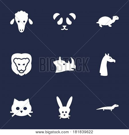 Set Of 9 Alive Icons Set.Collection Of Mutton, Tomcat, Bunny And Other Elements.