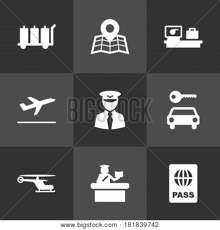 Set Of 9 Airplane Icons Set.Collection Of Aviator, Leaving, Carriage And Other Elements.