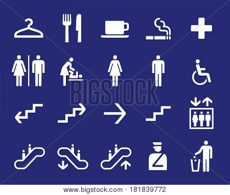 Office or shoping center building navigation set vector icons, services and directions