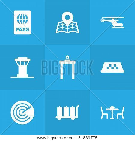 Set Of 9 Airplane Icons Set.Collection Of Transporter Car, Chopper, Rectifier And Other Elements.