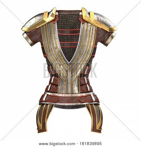 Female armor on the body with chain mails . 3d illustration