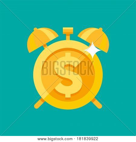Gold alarm clock with dollar symbol on the clock face, metaphor for time is money, vector illustration in a flat style isolated on a turquoise background, finance theme, money management, earnings