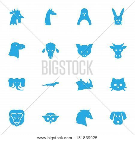 Set Of 16 Beast Icons Set.Collection Of Owl, Bunny, Bird And Other Elements.